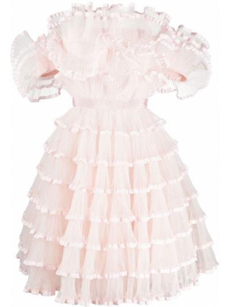 Расклешенное шелковое розовое платье мини с оборками Giambattista Valli