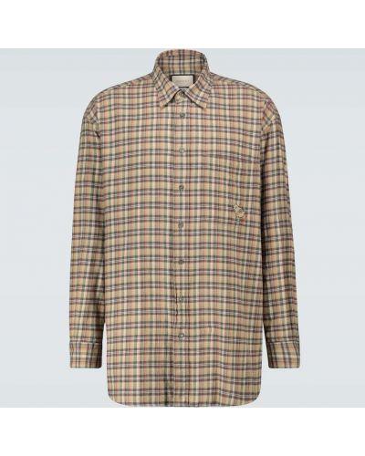 Bawełna beżowy koszula z kieszeniami z haftem Gucci