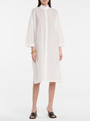 Ватное хлопковое белое платье миди Max Mara