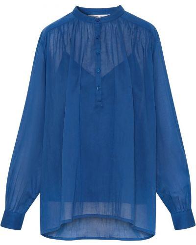 Синяя блузка с вырезом с драпировкой Gerard Darel