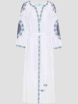 Хлопковое белое платье миди с вышивкой Melissa Odabash