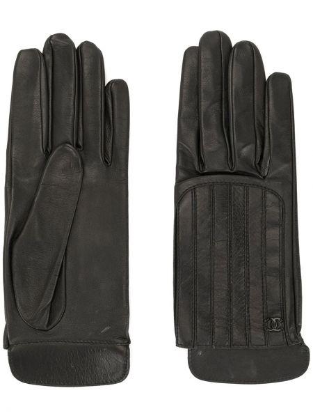 Стеганые кожаные черные перчатки Chanel Pre-owned