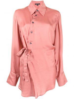 Шелковая рубашка - розовая Ann Demeulemeester
