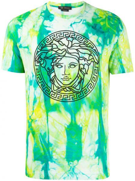 Koszula krótkie z krótkim rękawem z nadrukiem zielona Versace