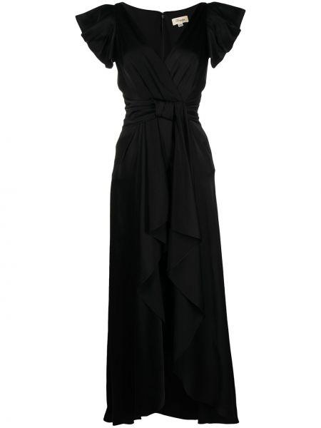 Черное шелковое платье макси с V-образным вырезом для полных Temperley London