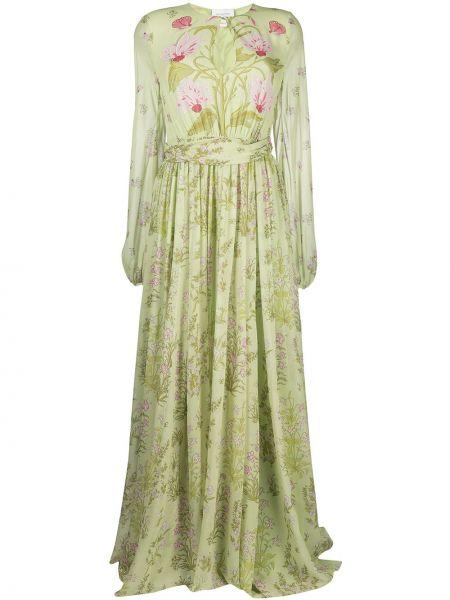 Зеленое платье макси в цветочный принт с вырезом Giambattista Valli