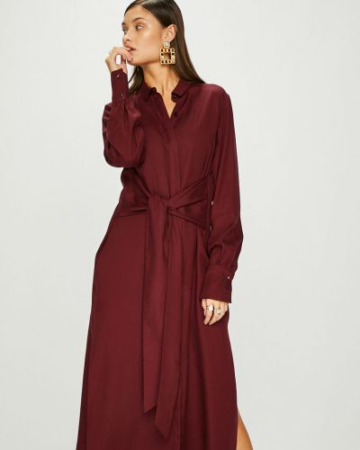Прямое бордовое платье миди Answear