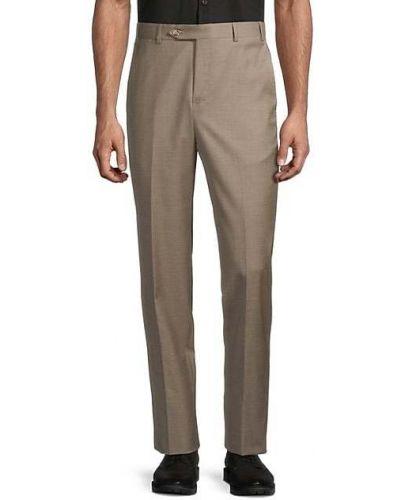 Шерстяные коричневые классические брюки с карманами Zanella