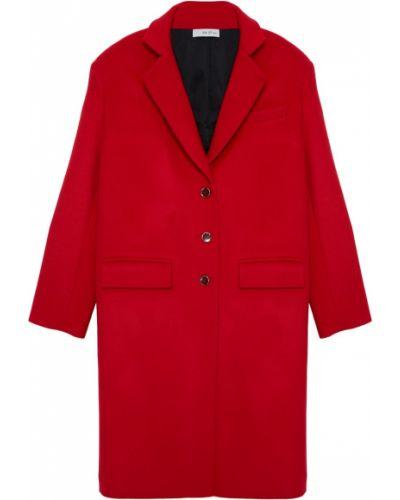 Красное шерстяное пальто оверсайз ли-лу