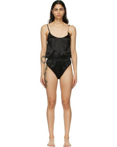 Черное сатиновое боди Versace Underwear
