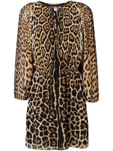 Платье мини леопардовое классическое Saint Laurent