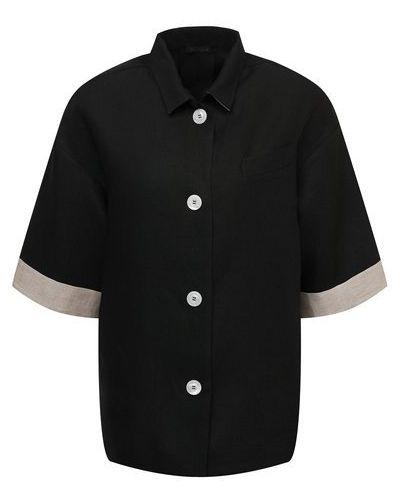Льняная рубашка - черная Kiton