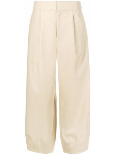 Bawełna spodni wełniany przycięte spodnie z kieszeniami Tibi