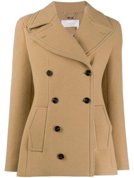 С рукавами шерстяной пиджак с карманами двубортный Chloé