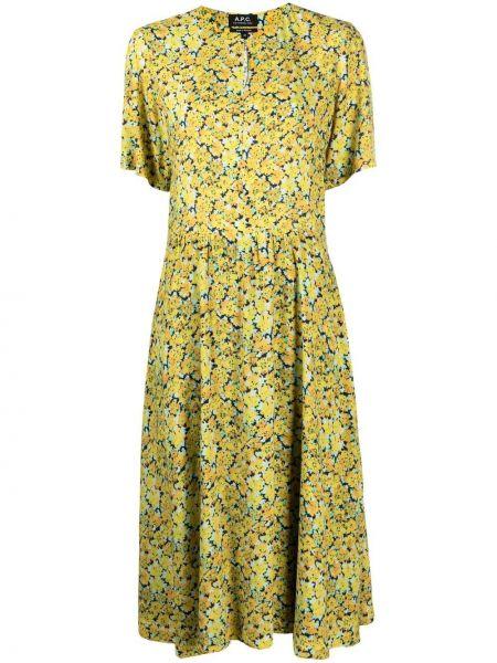 Желтое платье миди с короткими рукавами с подкладкой A.p.c.
