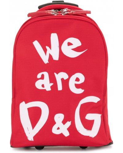 Красный чемодан на молнии с карманами Dolce & Gabbana Kids