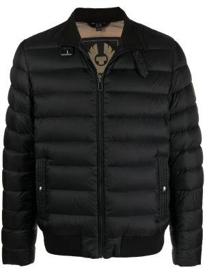 Prążkowana czarna długa kurtka z długimi rękawami Belstaff