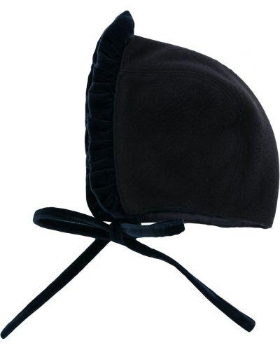 Шерстяная синяя шапка со вставками с завязками Siola
