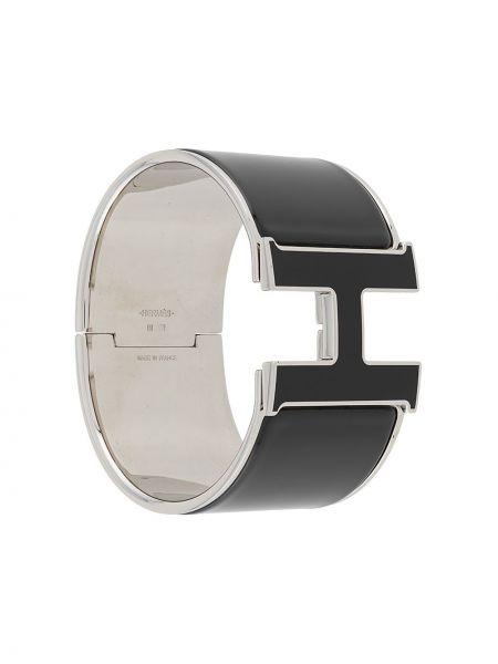 Czarna bransoletka srebrna Hermes