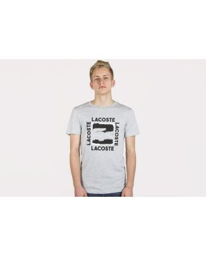 T-shirt bawełniany oversize z printem Lacoste