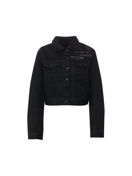 Мягкая хлопковая черная джинсовая куртка с нашивками Harley Davidson