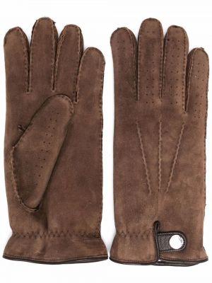 Brązowe rękawiczki skorzane Brunello Cucinelli