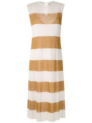 Белое прямое платье миди без рукавов с вырезом Osklen