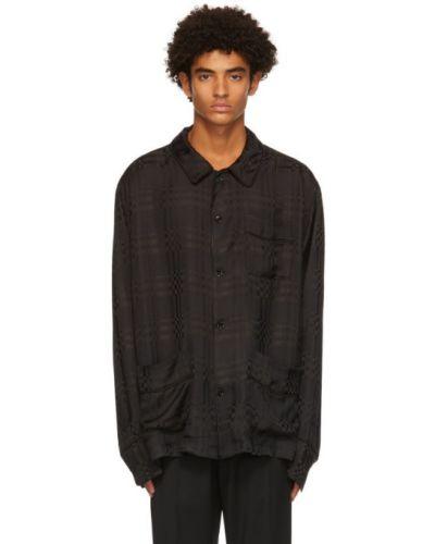 Черная рубашка с воротником с заплатками с карманами Cmmn Swdn