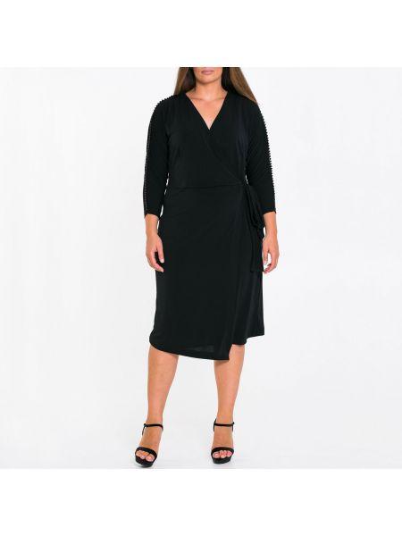 Платье миди с запахом с бисером на молнии с длинными рукавами Mat Fashion