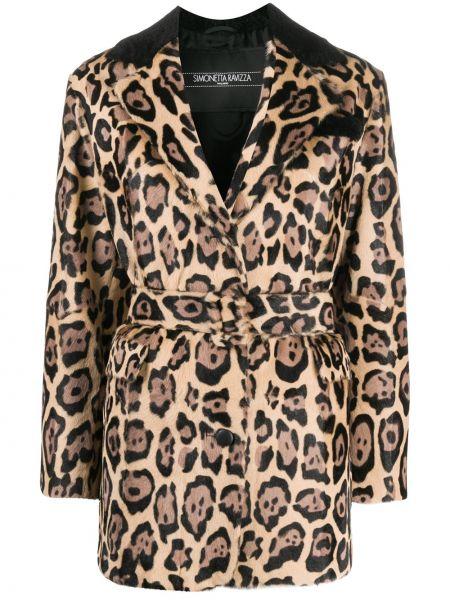 Кожаное пальто с воротником с поясом Simonetta Ravizza