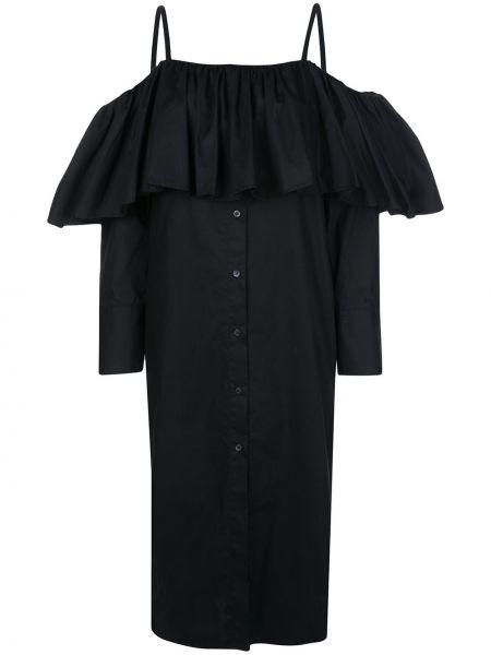 Черное платье миди с оборками на пуговицах со спущенными плечами Delada
