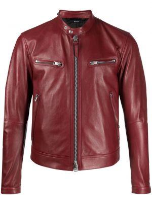 Кожаная куртка на молнии - красная Tom Ford