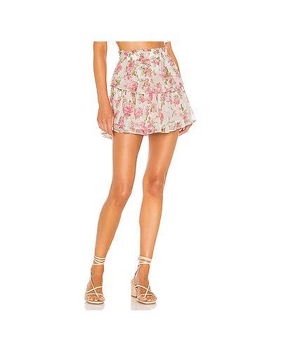 Розовая плиссированная юбка мини на резинке Loveshackfancy