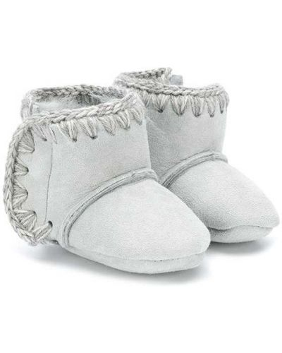 Серые сапоги из овчины с подкладкой Mou Kids