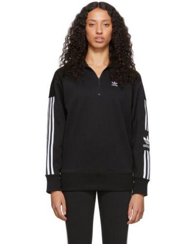 Czarny długi sweter w paski z haftem Adidas Originals