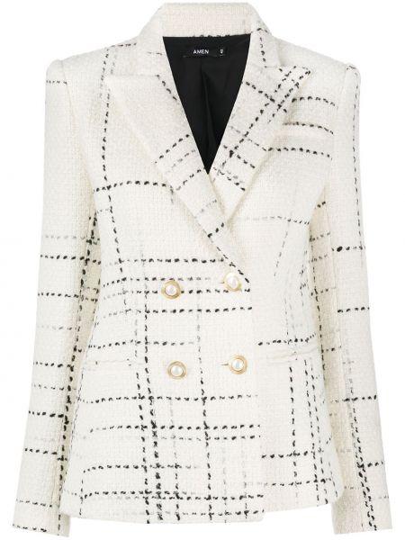 Ватная белая длинная куртка двубортная Amen