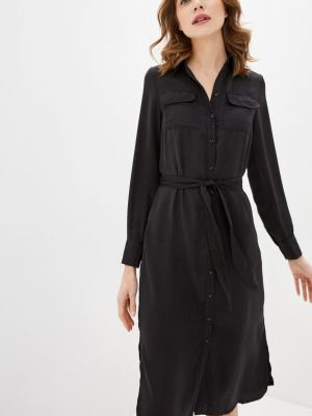 Платье платье-рубашка черное Zarina