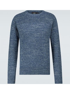 Хлопковый с рукавами вязаный синий свитер Rrl