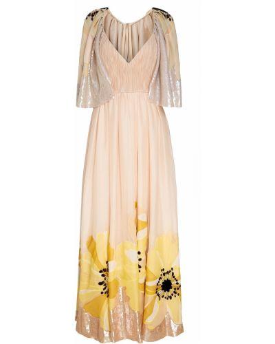 Платье макси розовое с декольте Valentino