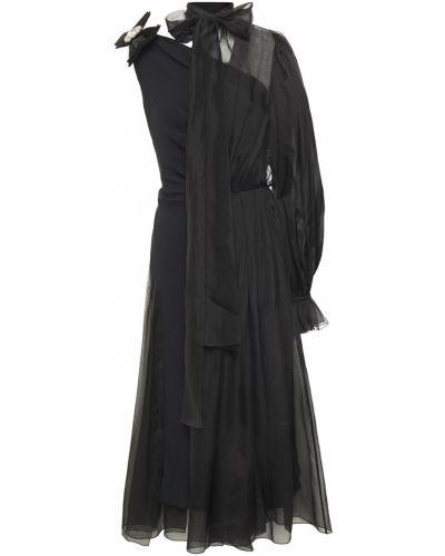 Шелковое черное платье миди стрейч Dolce & Gabbana