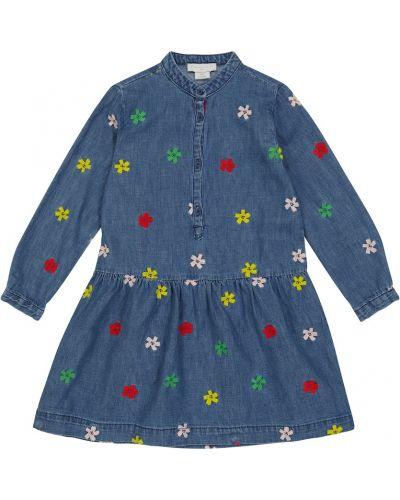 Платье рубашка - синее Stella Mccartney Kids
