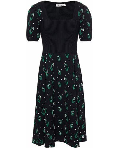 Платье из вискозы - черное Valentino