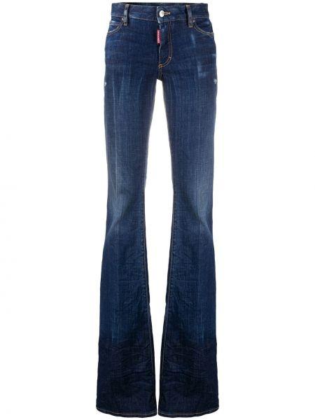 Синие джинсы варенки с поясом на пуговицах Dsquared2