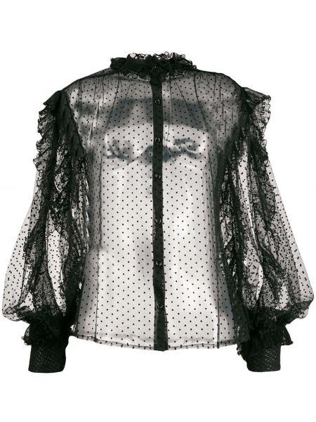 Приталенная блузка с длинным рукавом с оборками с воротником с манжетами Frankie Morello