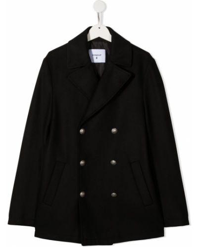 Деловое черное шерстяное пальто классическое на пуговицах Dondup Kids