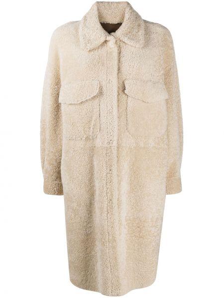 Бежевое кожаное пальто классическое с воротником Simonetta Ravizza