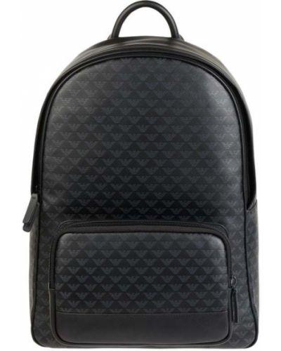 Czarny plecak na laptopa skórzany na rzepy Emporio Armani