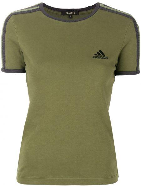 Хлопковая зеленая с рукавами футболка Yeezy