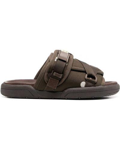 Skórzany ciemny brąz skórzany sandały płaska podeszwa otwarty palec u nogi Visvim