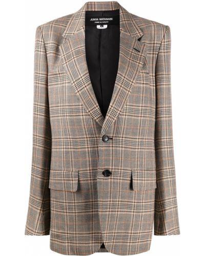 Шерстяной черный удлиненный пиджак в клетку Junya Watanabe